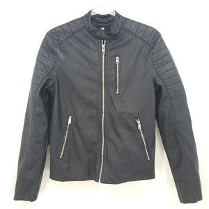 H&M faux vegan leather moto biker jacket sz small